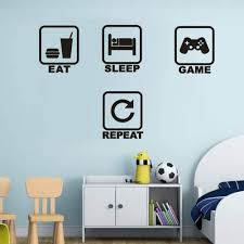 Amazon Com Eat Sleep Game Repeat Wall Decal Funny Gamer Decor For Playroom Children Gift Nursery Boys Room Wall Vinyl Decal Lettering Stickers Home Decor Kitchen Dining