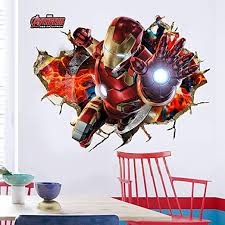 Amazon Com Hu Sha Marvel Wall Stickers Iron Man Captain America Hulk Wall Decals Excellent Vinyl Wall Decor For Boys Room Living Room 19 7 X 27 6 Inches Size Home Kitchen