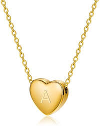 monily dainty heart initial necklace