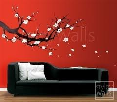 Cherry Blossom Branch Vinyl Wall Decal Art 3 Colors