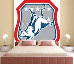 American Rodeo Cowboy Bull Riding Cartoon Wall Mural Wallpaper Murals Patrimonio Designs