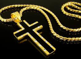 cross pendant 28 chain 18k gold plate
