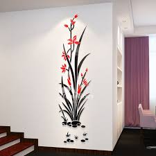 Floral Wall Decals 3d Acrylic Decorative Living Room Personalised Wall Decals Living Room Simple Wall Paintings Acrylic Wall Decor