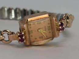 antique 14k ruby las wrist watch