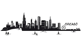 Chicago Skyline Wall Sticker Wall Art Com Chicago Skyline Silhouette Chicago Skyline Skyline Silhouette