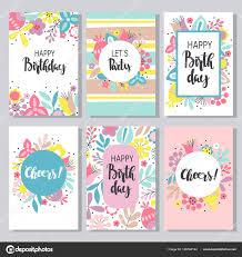 Collection Of 6 Cute Card Templates Stock Vector C Yulia337
