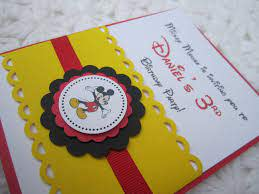 Mickey Mouse Inspired Handmade Invitation Invitaciones Mickey