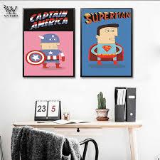 Newbility Cartoon Super Man Movie Poster Hero Anime Painting Modern Vintage Decoration Enfant Kids Room Decor Living Room Quadro Painting Calligraphy Aliexpress