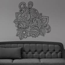 Henna Mehndi Paisley Doodle Wall Sticker Vinyl Mural Decal Etsy