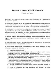 Lavorare in classe, attività e tecniche - 1023959 - StuDocu