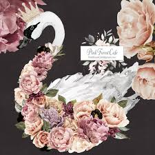 30 Boho Swan Peonies Crown Floral Wall Decal Sticker Art Baby Nursery Pink Forest Cafe