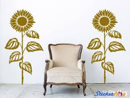 Sunflower 1 Color Wall Decals 2 Graphic Vinyl Sticker Bedroom Living Room Wall Home Decor