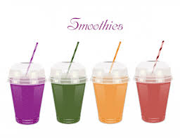 a set of plastic cups with smoothies