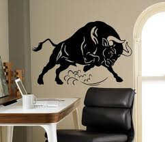 Angry Bull Wall Art Decal Corrida Vinyl Sticker Animals Home Etsy
