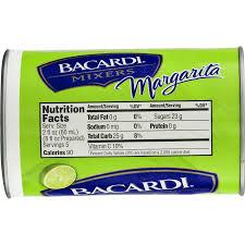 bacardi margarita mix nutrition facts
