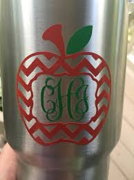 Teacher Inspired Tumbler Chevron Apple Monogram Decal Personalized Teacher Gift Coffee Cup Teacher Cup School Ozark Trail