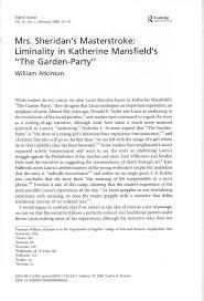 garden party katherine mansfield essay