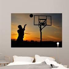 Teen Boy Shooting Basketball Wall Decal Wallmonkeys Com