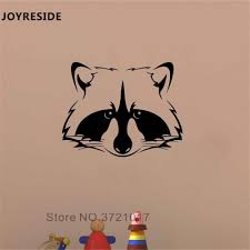 Joyreside Raccoon Head Wall Decal Wild Aniamls Wall Sticker Cute Vinyl Decor Home Kids Baby Bedroom Decor Interior Design A971 Wall Stickers Aliexpress