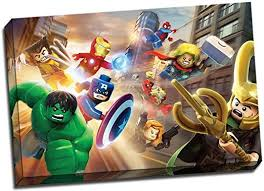 Amazon Com Panther Print Large Lego The Avengers Canvas Print Poster 30x20 Inches A1 Posters Prints