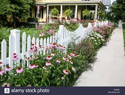 White Picket Fence Garden Border Flowers Victorian House Mercer County New Jersey Usa United States Fs 10 42mb 300ppi Stock Photo Alamy