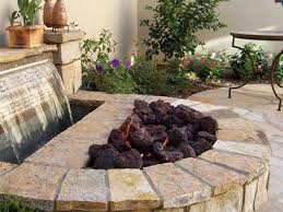 fire pit combined with a waterfall for