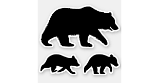 Grizzly Bear With Cubs Silhouettes Vinyl Stickers Zazzle Com