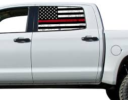 Red Thin Line American Flag Perforated Vinyl Decal Truck Rear Window Sticker