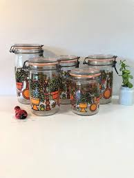 vintage hermelique glass canister