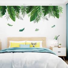 Home Tropical Jungle Green Leaves Wall Sticker Decoration Living Room Restaurant Seaside Plant Swallow Art Wall Mural Decal Wall Stickers Aliexpress