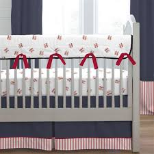 navy and red stripe crib rail cover