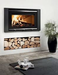 wood burning heating stove built in