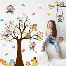 Amaonm Removable Giant Brown Tree Cororful Leaves Wall Decal Natural Jungle Wildlife Animals Owls Monkey Butterfly Birds Diy Home Art Decor Wall Stickers For Bedroom Living Room Nursery Room Wallartly Com Fine Artswallartly Com