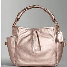 coach bags rose gold metallic leather