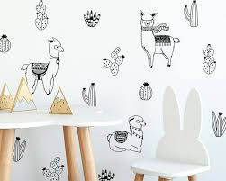 Alpacas And Cacti Wall Decals Nursery Decals Cactus Decals Alpaca Decals Llama Decals Nursery Wall Stickers Alpaca Stickers Llamas
