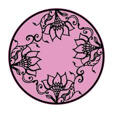 Henna Circle Flowers Purple Pattern Pretty Floral Design Car Etsy