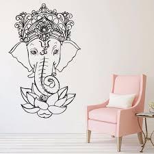Elephant Vinyl Wall Stickers Yoga Ganesh Tribal Wall Mural Buddha Lotus Home Decor India Elephant Wall Decal Yoga Sticker Yj25 Wall Stickers Aliexpress