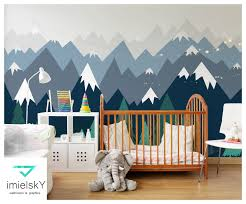 Mountain Wallpaper Decals Nursery Baby Room Dark Blue Wall Etsy Woodland Wall Decals Nursery Wall Decals Baby Room Decals