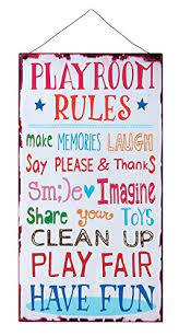 Kids Room Playroom Rules Hanging Wall Plaque Sign For Kid Room Nursery Classroom Church And School The Frumcare Store
