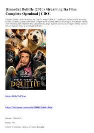 Guarda] Dolittle (2020) Streaming Ita Film Completo Openload ...