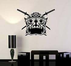Vinyl Decal Samurai Mask Japan Asian Decor Japanese Wall Stickers Ig3504 Ebay
