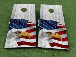 Product American Eagle Wood Texture Cornhole Board Game Decal Vinyl Wraps With Laminated