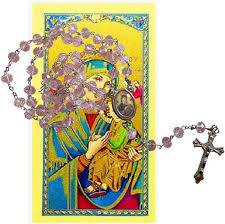 Amazon.com: Our Lady of Perpetual Help Madre del Perpetuo Socorro Rose  Quartz Faceted Rondelle 8mm Beads Rosary with Silver Plated Centerpiece and  Crucifix Includes a Blessed Prayer Card: Clothing