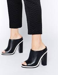 faith cannon leather high heeled mule