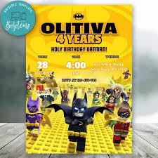 Invitaciones De Cumpleanos De Batman Lego Editables Descarga