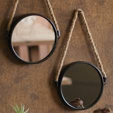 hanging round mirror with rope