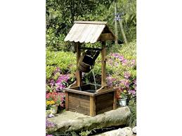 wood outdoor patio water fountain