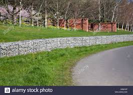 A Structural Crib Retaining Wall Made Of Gabion Baskets Using Stones Stock Photo Alamy