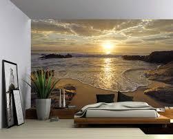 Amazon Com Picture Sensations Canvas Texture Wall Mural Seascape Sunrise Sea Ocean Wave Sunset Beach Self Adhesive Vinyl Wallpaper Peel Stick Fabric Wall Decal 48x36 Home Kitchen