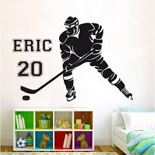 Personalized Name Hockey Player Vinyl Wall Art Decal